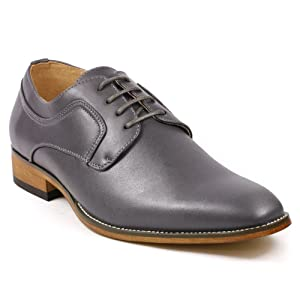 UVS001 Men's Lace Up Oxford Dress Shoes (12, Gray)