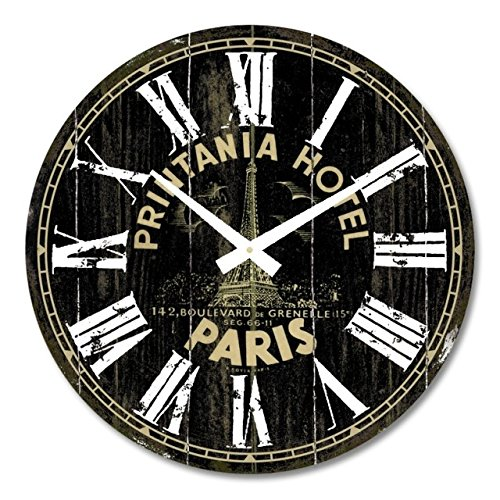 iCasso 14 Retro Vintage Printania Hotel French Country Tuscan Style Non-Ticking Silent Wood Wall Clock Wooden Wall Art Decor