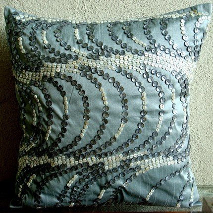 Sea Fantasy - 26X26 Inches Square Decorative Throw Blue Silk Euro Sham Covers Embellished With Mother Of Pearl front-608667