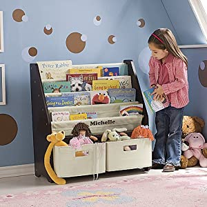 Kids' Sling Bookshelf with Storage Bins Personalized with Pink Letters - Espresso