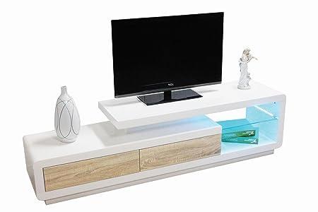 TV-Unterschrank Tansila 07, Farbe: Weiß Hochglanz / Sonoma Eiche - Abmessungen: 40 x 170 x 40 cm (H x B x T)