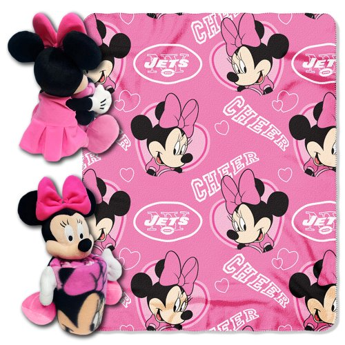 Nfl New York Jets Minnie Cheerleader 40X50-Inch Throw With 14-Inch Hugger front-871725