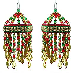 DollsofIndia 2 Cloth Wall Hangings with Bead Work (Show Piece) 7x3x3 inches Each