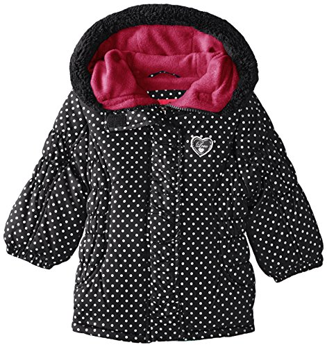 Pink Platinum Baby Girls' Foil Dot Puffer, Black, 24 Months