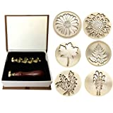 Moorlando Wax Seal Stamp Set, 6PCS Botanical Sealing Wax Stamp Brass Heads + 1PC Wooden Handle with a Gift Box Vintage Retro Wax Stamp Sealing for Invitations Cards Letters Envelopes