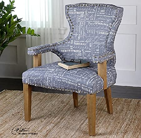 "38"" Slate Gray Linen Print w/ Brass Studs Oak Wood Armchair"