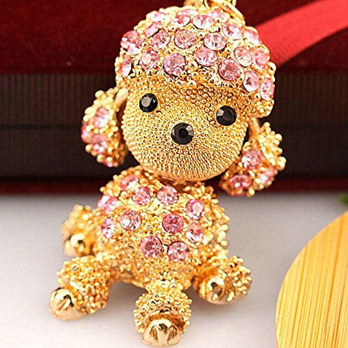 Bro'Bear Cute Dog Sparkling Poodle Blingbling Diamond Crystal Rhinestone Alloy Metal Keychain Animal Puppy Lover Kawaii Keyring Key Chain Pendant Purse Handbag Bag Car Hanging Charm Decoration Gift (Pink) (Crystal Dog Keychain compare prices)