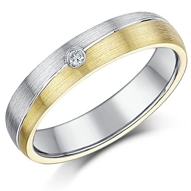 Two Colour Ring 6mm 9ct Gold & Sterling Silver Two Tone Diamond Grooved Engagement Wedding Ring