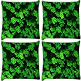 Snoogg Green Petals Pack Of 4 Digitally Printed Cushion Cover Pillows 18 X 18 Inch