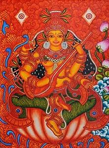 Goddess saraswati kerala mural home kitchen for Average cost of mural painting