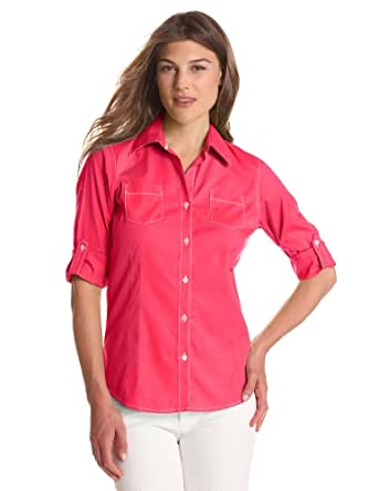 Foxcroft Women's Solid Free Fit Roll Tab Blouse, Tropical Pink, 4