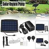Solar Air Pump for Fish Pond, Aquarium Solar Powered Oxygenator Pond Water Oxygen Pump with 2 Air Bubble Stone, Oxygenator Aerator for Garden Fish Tank (Black) (Color: Black, Tamaño: One Size)