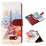 """MOLLYCOOCLE Fashion Style Painted Wallet Card Case Magnetic Design Flip Folio PU Leather White Sky Blue Skin Cover Standup Cover with Reddish Maple Leaf and Eiffel Tower Pattern for Iphone 6 Plus (5.5"""")"""