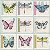 Holden Décor Farfalla Butterfly Dragonfly Stamp Metallic Vinyl Wallpaper (Duck Egg 97942)