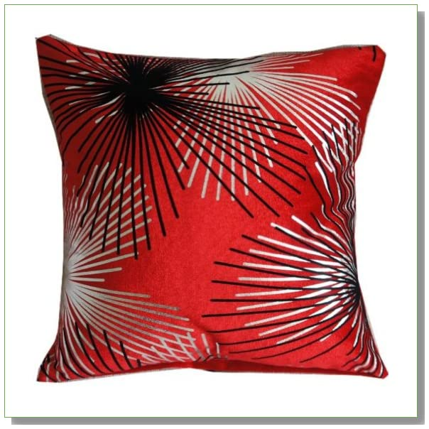 Flocking Dandelion Red Silver Black Throw Pillow Case Decor Cushion Covers Square 18*18 Inch Cotton Blend