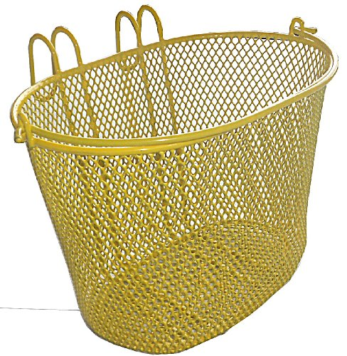 Basket with hooks yellow, Front , Removable, Wire Mesh Bicycle basket , YELLOW