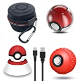 Accessories Kit for Pokeball Plus Controller, VOKOO Carrying Case, Clear Case, Silicone Cover and Charger Stand Compatible with Nintendo Switch Pokémon Lets Go Pikachu Eevee Game, 4-in-1 (Color: PBP ACCESSORY KIT)