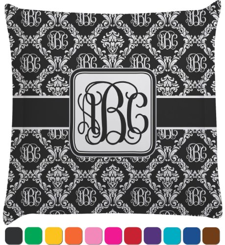 Monogrammed Damask Personalized Euro Sham Pillow Case front-987503