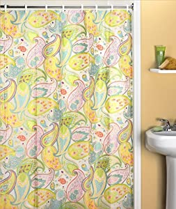 Amazon.com - Cool Retro Look Paisley Bathroom Vinyl Shower Curtain -