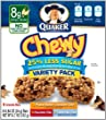 Quaker Chewy Granola Bar Reduced Sugar Variety Pack, 8-Count Boxes (Pack of 12)