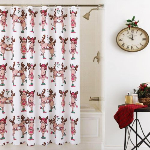 Elegant Christmas Merry Moose Shower Curtain Holiday Sale
