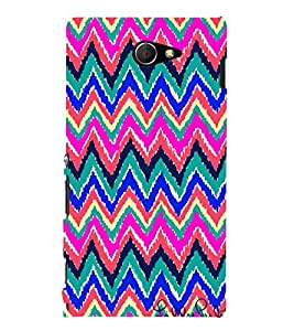 Zig Zag Pattern 3D Hard Polycarbonate Designer Back Case Cover for Sony Xperia M2 Dual D2302 :: Sony Xperia M2
