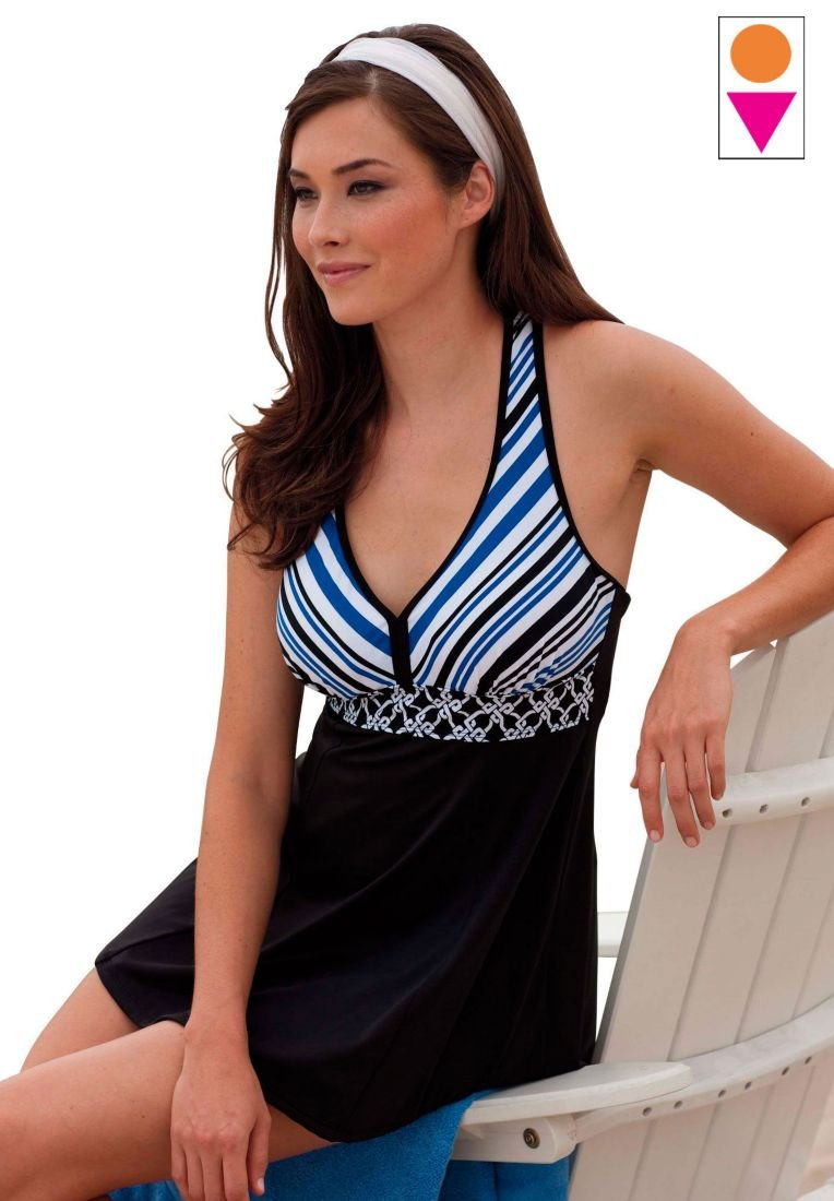 Black, White and Blue Mixed Print swimdress by Resorts Plus