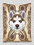 Husky Puppy Cute Young Fluffy Siberian Dog Pet Portrait Ethnic Tribal Bohemian Hippie Indian Mandala Wall Hanging Tapestry Living Room Bedroom Dorm Decor, Brown Beige White
