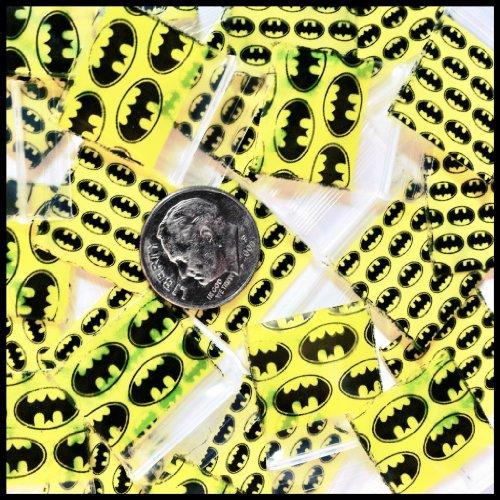 "3434 Tiny Apple Mini Ziplock 3.0 Mil Baggies Batman Logo Design 100 Bags 3/4"" X 3/4"""