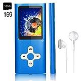 MP3 Player/Music Player,EVASA Portable Digital Music Player/Video/Voice Record/FM Radio/E-Book Reader,Ultra Slim 1.8''Screen (Color: Blue-16GB-new)