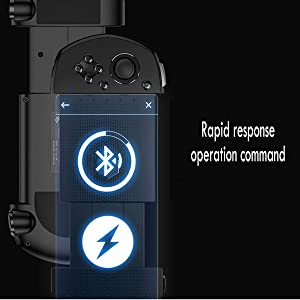 ZODRQ Wireless Bluetooth Receiver Mobile Gaming Controller Adjustable Gamepad Joystick Support for Android iOS with USB Cable (Black) (Color: Black)