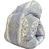 昭和西川 日本製 羽毛布団 シングル 150×210cm ホワイトダウン85% 472柄 ブルー