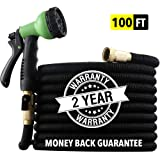 "[2019 HOSE MODEL] X-STREAM 100 ft Non-Kink Expandable Garden Hose, 10-PATTERN Spray Nozzle INCLUDED, 3/4"" Brass Fittings with Shutoff Valve, BEST 100' Foot Garden Hose - 2 YEAR WARRANTY - Black"