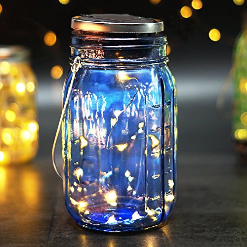 BRIGHT ZEAL Solar LED Decorative Jars with Lids and Starry LED String Light (7