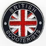 Sew-on Iron-on Embroidered Patch British Scooterist Union Jack Flag Badge