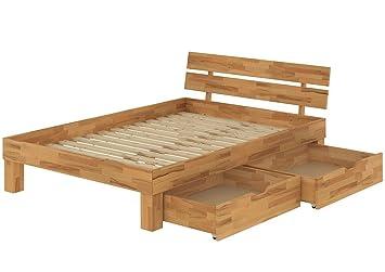 60.86-14 B33 Buche Doppelbett 140x200 mit Bettkasten Französisches Bett