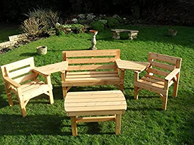 4 piece Wooden Garden Furniture set, FULLY ASSEMBLED, UK manufactured