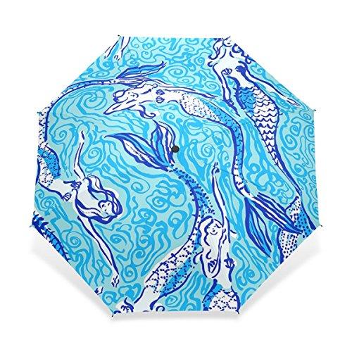 Rain Umbrella Windproof Tumblr Unique Art Mermaid Texture Pattern Bright Color Foldable Compact Travel Umbrella
