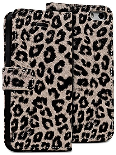 Mylife Brown Leopard - Leopard Design - Textured Koskin Faux Leather (Card And Id Holder + Magnetic Detachable Closing) Slim Wallet For Iphone 5/5S (5G) 5Th Generation Smartphone By Apple (External Rugged Synthetic Leather With Magnetic Clip + Internal Se