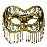 Fringed Lace Eye Mask - Gold W41S33F