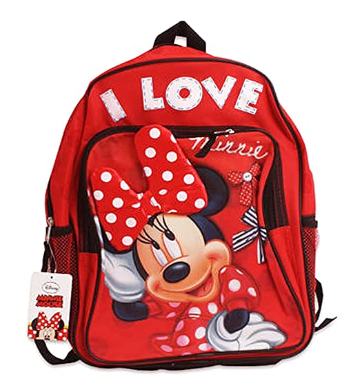 Disney Minnie Mouse I Love Minnie w/ 3D Bow Red Backpack-16