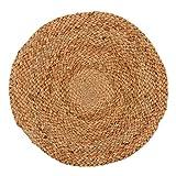 Khrysanthemum Premium Handwoven Jute Round Dinning Mat (Set Of 6) - 14 x 14 inches, Beige