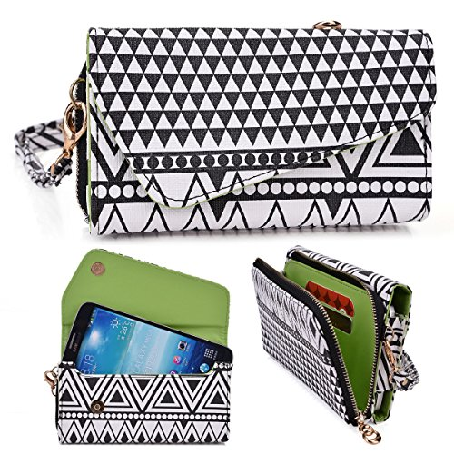 Black And White Aztec Tribal Print Crossbody Wallet Fits Huawei Ascend Mate Mt1-U06