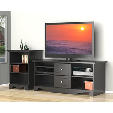 Transitional Black TV Stand Set with Audio Stand FMP25382
