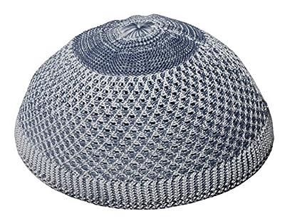 Small Faded Black Open-weave Design Nylon Muslim Kufi Hat Skull Beanie Cap