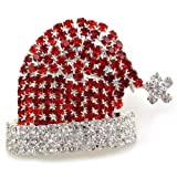 Christmas Pin Santa Clause St. Nick Hat Brooch Winter Xmas Rhinestones Jewelry thumbnail