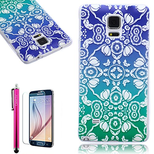 Note 4 Case,Full Protective [ Flexible] Unique Case [Ultra Slim] Durable Soft TPU Gloss Cover [Great Fit] Elegant Pattern Clear Cover Case For Samsung Galaxy Note 4