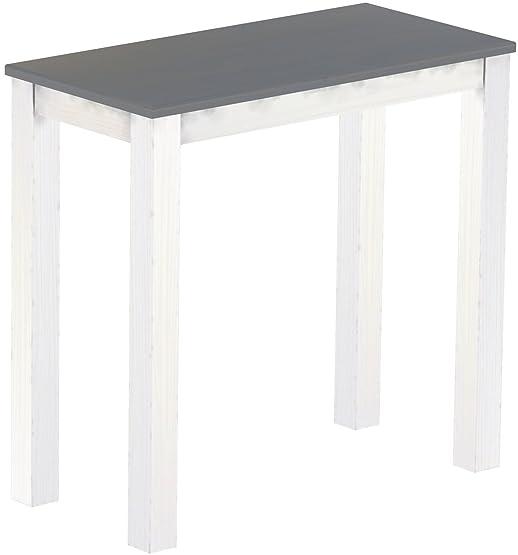 Brasil Mobili alto tavolo 'Rio classico' 115x 56cm, in legno di pino massiccio, seta tinta Grigio–Bianco