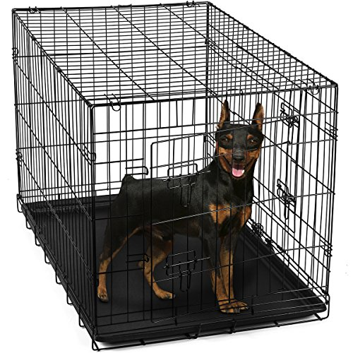 "OxGord 24"" Dog Crate with Divider, Double-Doors Folding Pet Cage with Heavy Duty Metal Wires and Removable ABS Plastic Floor Tray. Animal Kennel Fence folds into a Carry Case w/ Handle for Portable Car SUV Travel House, Indoor & Outdoor Exercise Playpen / Home 