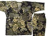 【金彩牡丹と桜・黒カーキ】 義若オリジナル子供鯉口シャツ上下セット (2号(100サイズ))